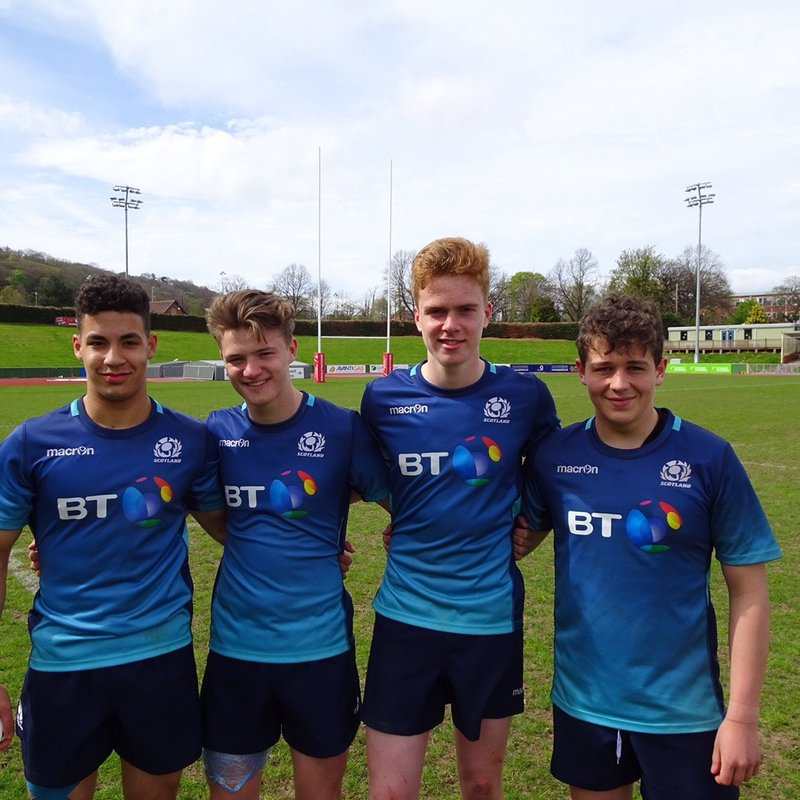 Incredible representation of NE Fife at the Scotland Blues U16 rugby at Conwy Festival game v RGC at Parc Eirias in North Wales