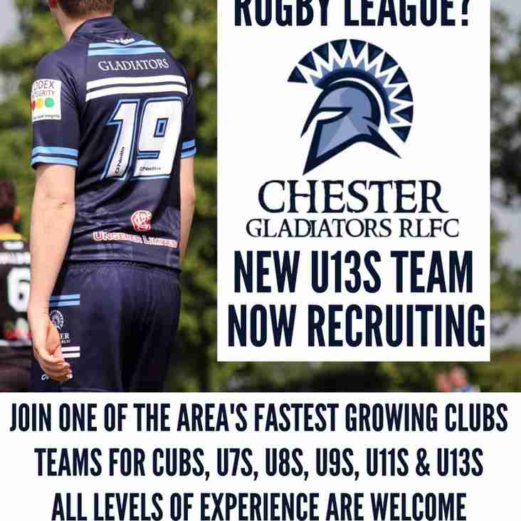 Gladiators seeking more players for new U13s side