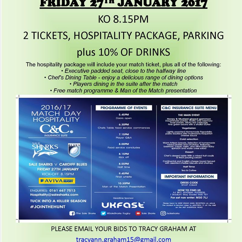 7 DAY AUCTION FOR SALE SHARKS HOSPITALITY PACKAGE