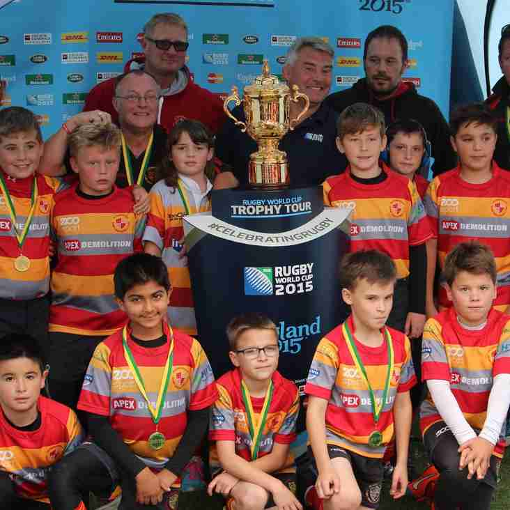 Boro youngsters with the Rugby World Cup!