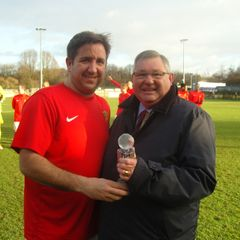 Wayne Carter Presented with Trophy for his 400th Appearances For Uxbridge FC By Chairman Mr Alan Holloway Photographed By Mr Nigel Patrick Cowen