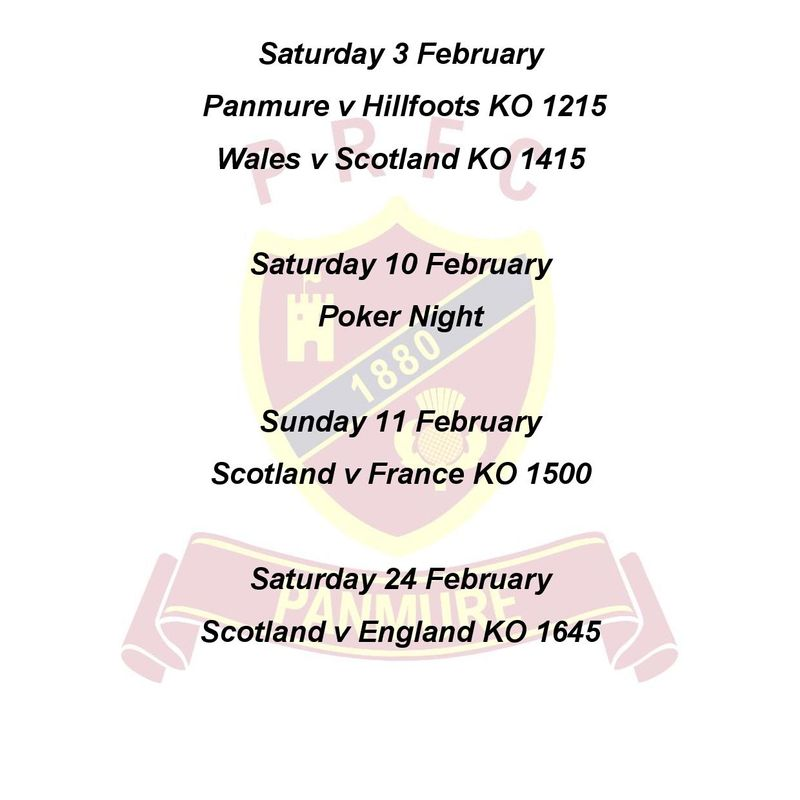 February at Panmure RFC