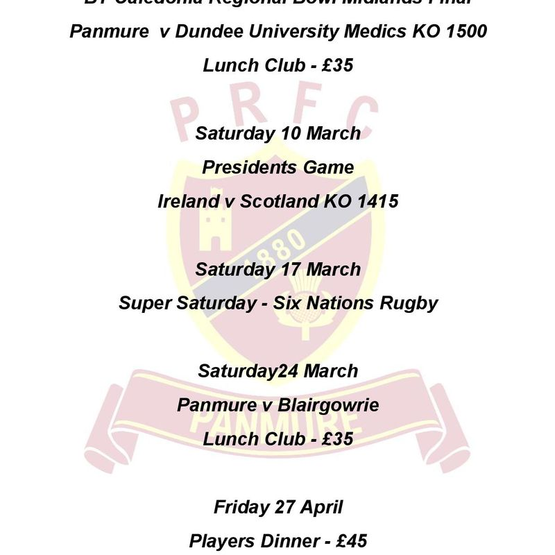 March at Panmure RFC