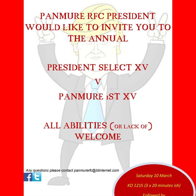 PANMURE RFC PRESIDENT WOULD LIKE TO INVITE YOU TO THE ANNUAL PRESIDENTS GAME