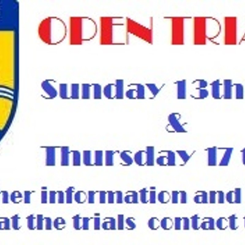 17th April:  OPEN TRIALS DATES