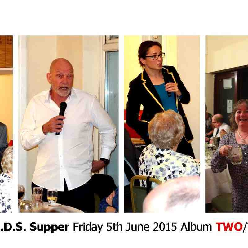 Wasps S.O.D.S. SUPPER Friday 5th June 2015 TWO/TWO