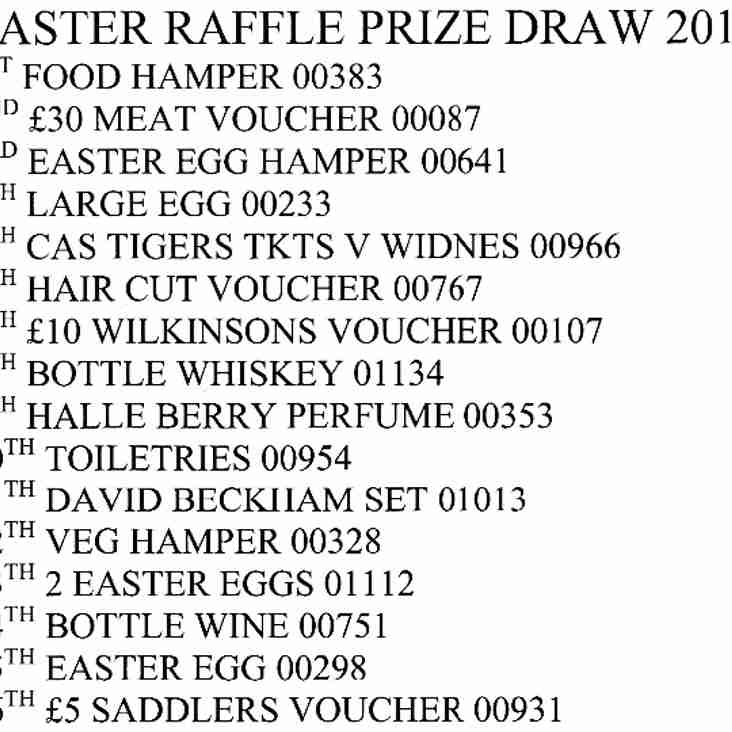 Easter Raffle Prize Draw 2014