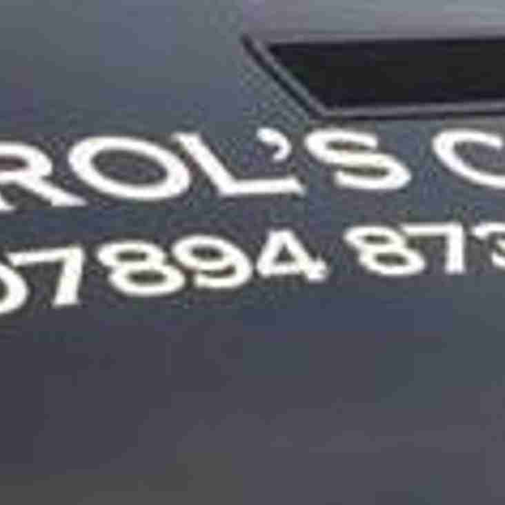 Our new 1st Team sponsor is Carol's Cabs