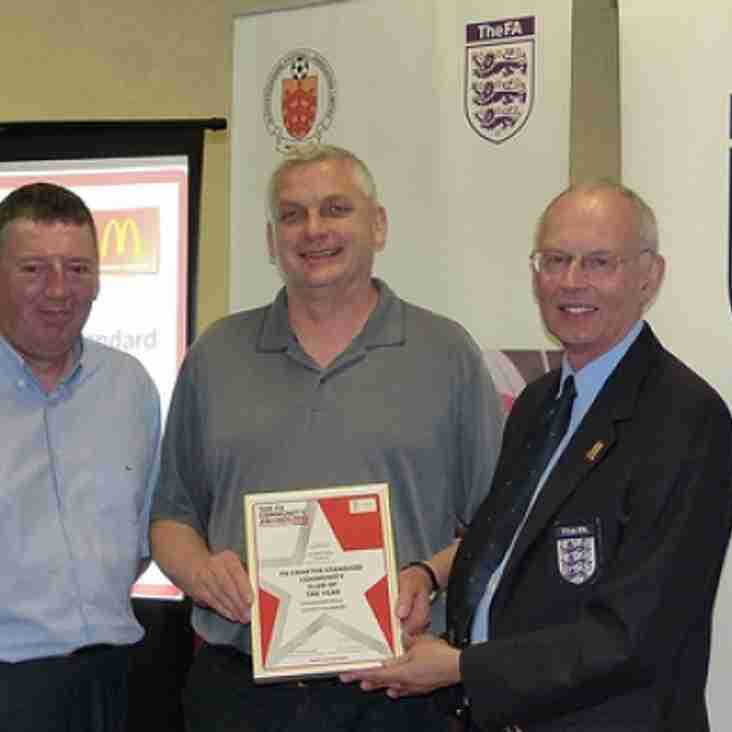 BSYFC receive the Community Club of the year award at Cheltenham Town FC
