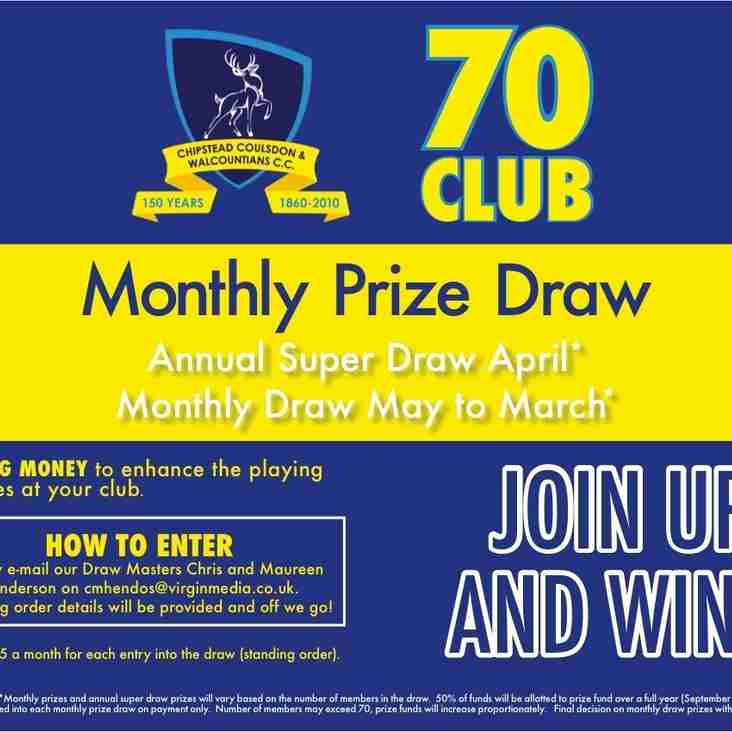 CCWCC 70'S CLUB DRAW FOR 2017 WILL TAKE PLACE ON  SUNDAY 10 DECEMBER 2017