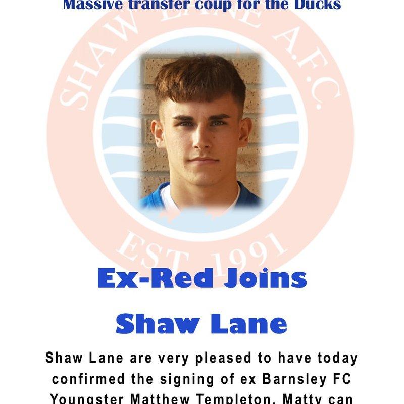 Ex Red Mattew Templeton joins Shaw Lane