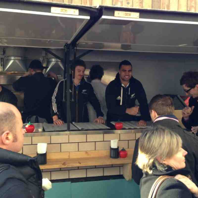 All Blacks preparing for England Game by serving burgers in London! (30/11/12)