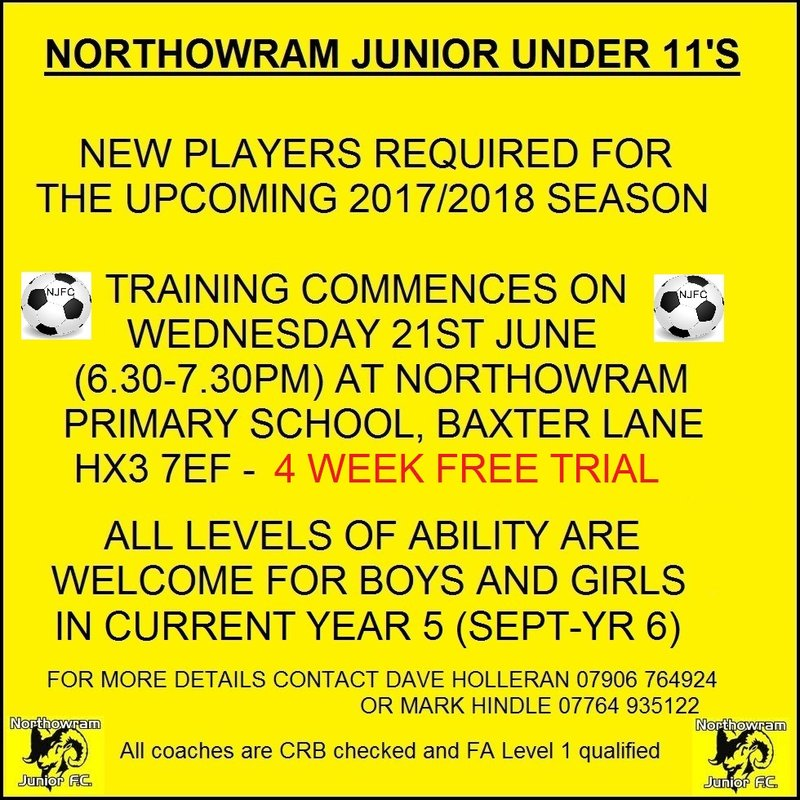 Northowram needs players for U11's team