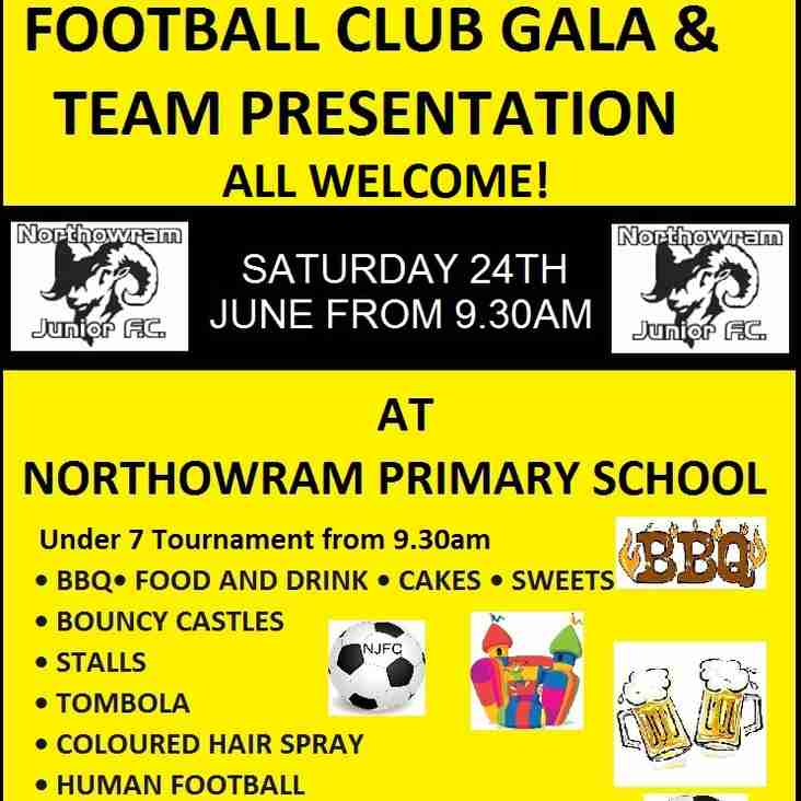 Club Gala and Team presentation Day Sat 24th June from 09:30