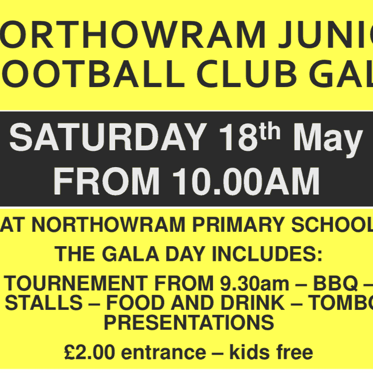 Northowram Juniors Gala and Presentation Day - tommorrow 10am onwards