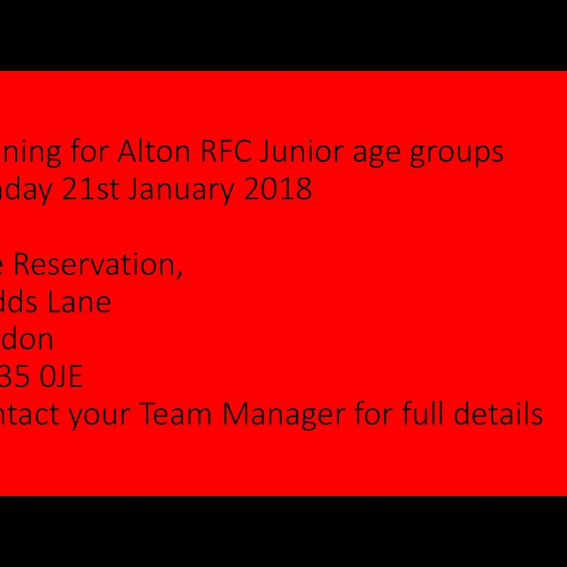 Change of Venue for Junior Rugby Sunday 21st January