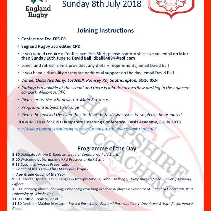 Hampshire RFU Coaching Conference July 8th 2018.