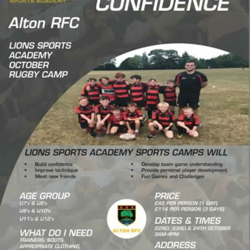Lions Sport Academy October half term rugby camp.
