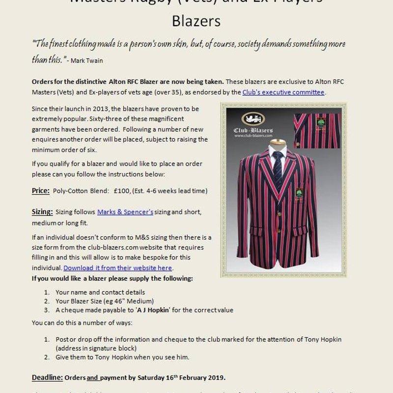Alton Masters and Ex-players' Club Blazer
