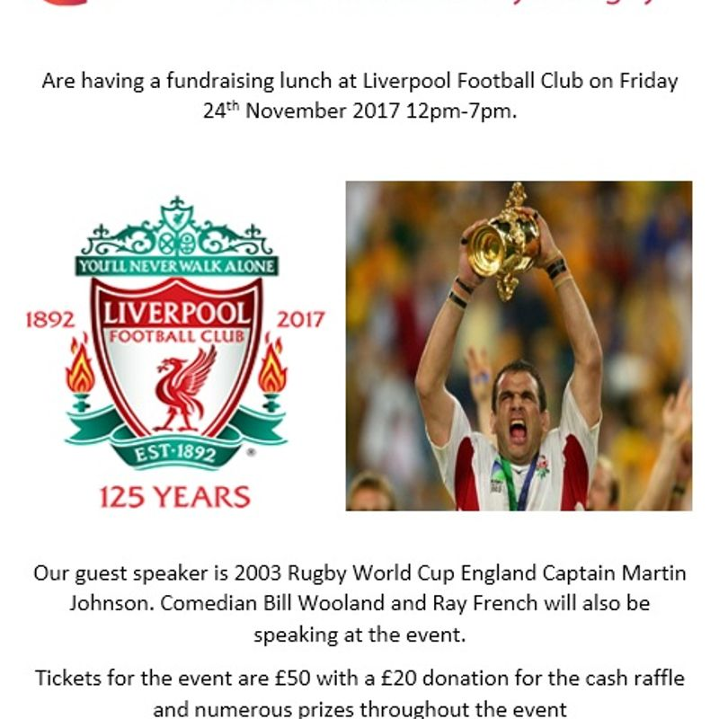 Wooden Spoon Society Fund Raiser Lunch 24th Nov At Anfield - Childrens' Rugby Charity