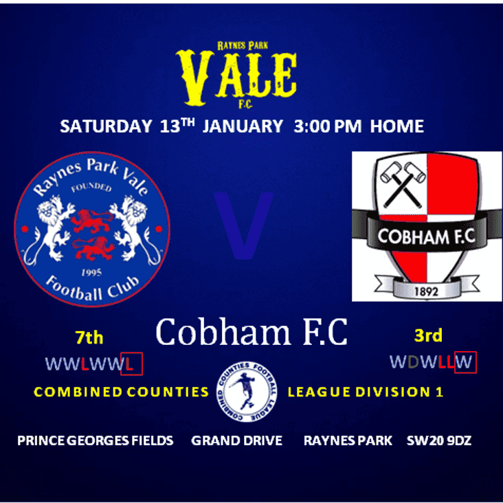 Next Game - Cobham Home Sat 13th 3pm