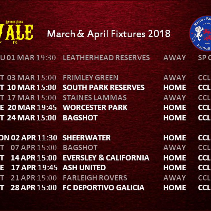 Fixtures March April 2018