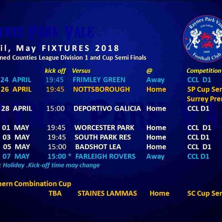 April May 2018 fixtures