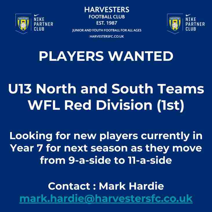 Players needed for 11 aside teams