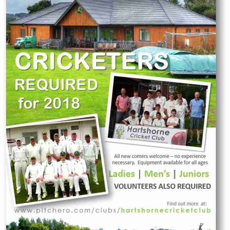 Cricketers & Volunteers required for 2018