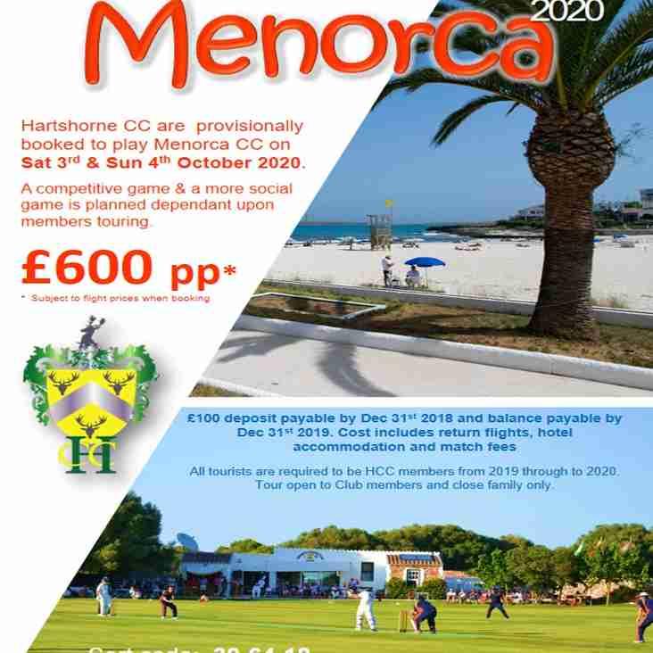 HARTSHORNE CRICKET CLUB ON TOUR - MENORCA 2020  BOOK YOUR TICKETS NOW!