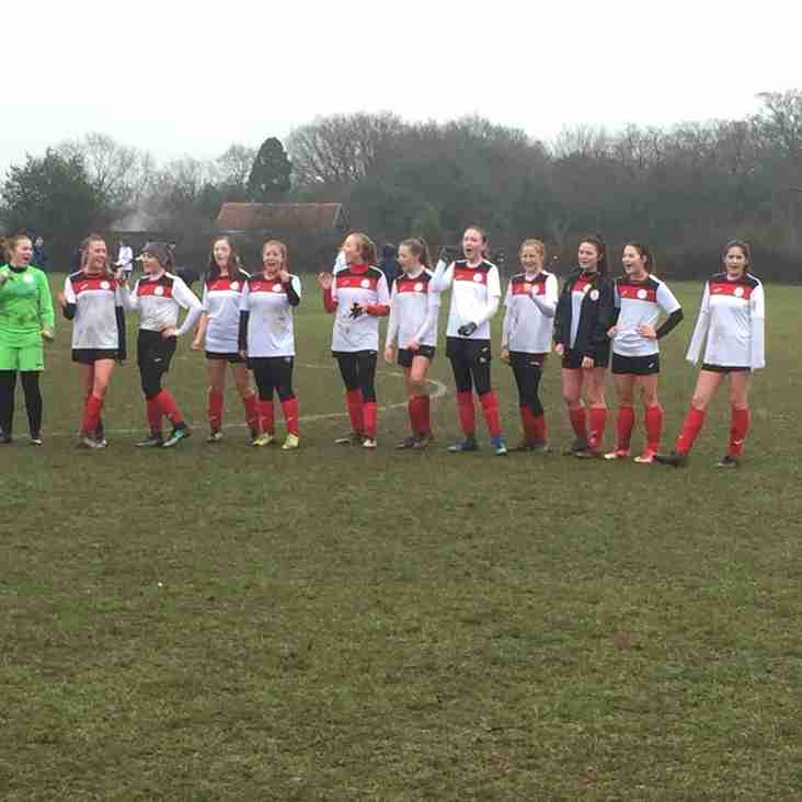 Quater final county cup victory for Bury Rangers Girls U15's