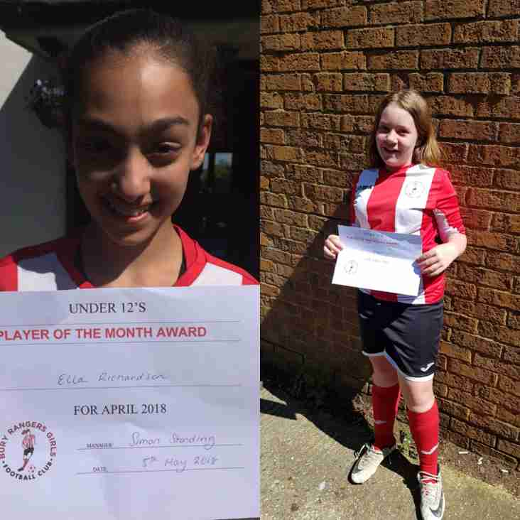 U12 Girls April Players of the Month