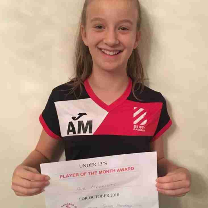 U13 Girls October Player of the Month
