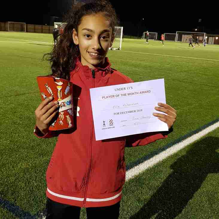 Player of the Month December - U13 Girls
