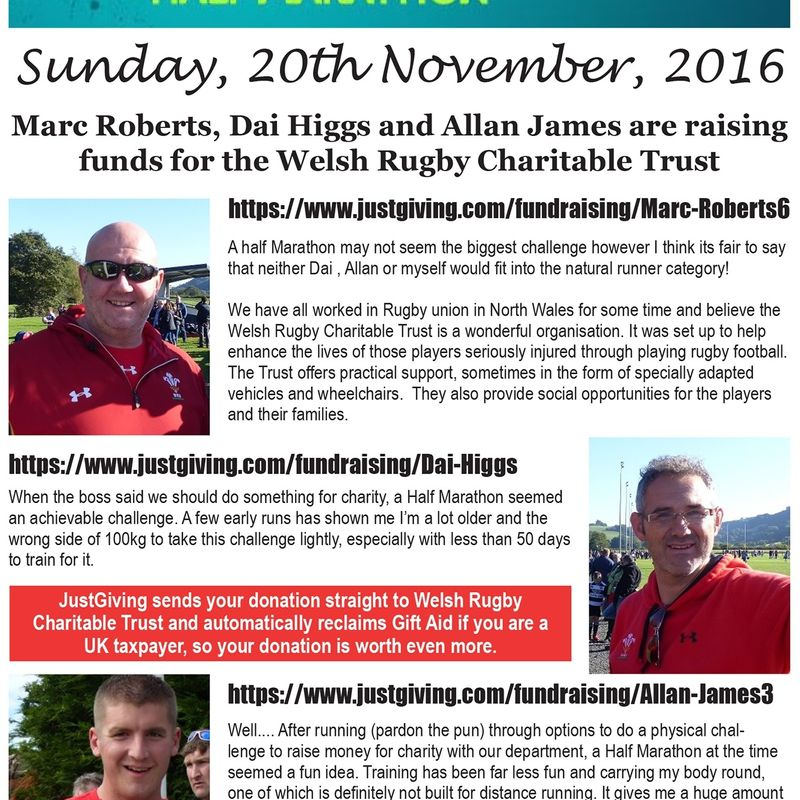 The 'North Wales Three' giving their all to raise funds for Welsh Rugby Charitable Trust