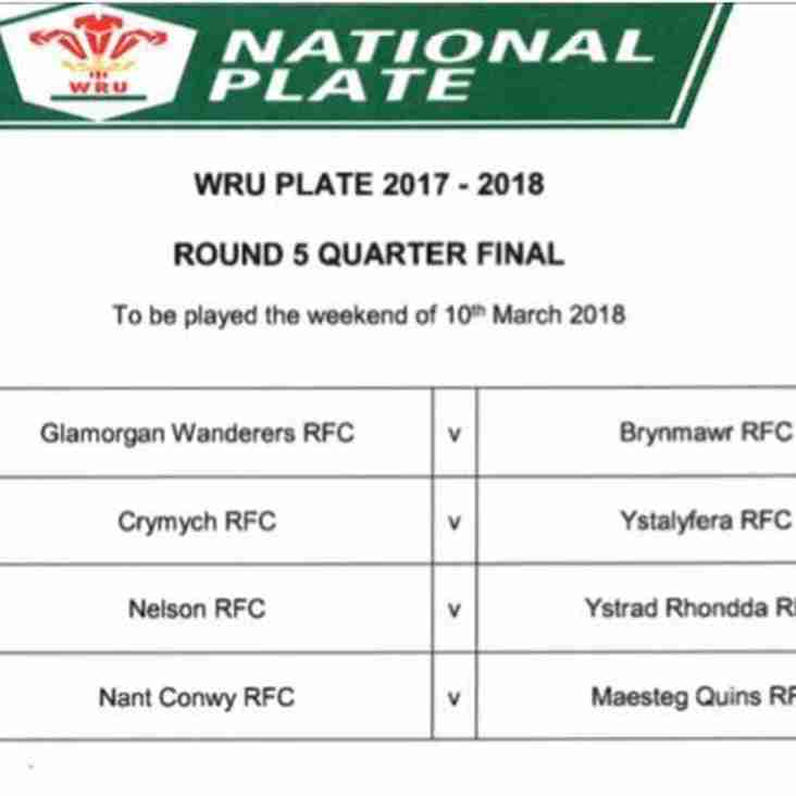 Nant drawn at home in WRU Plate Quarter Final