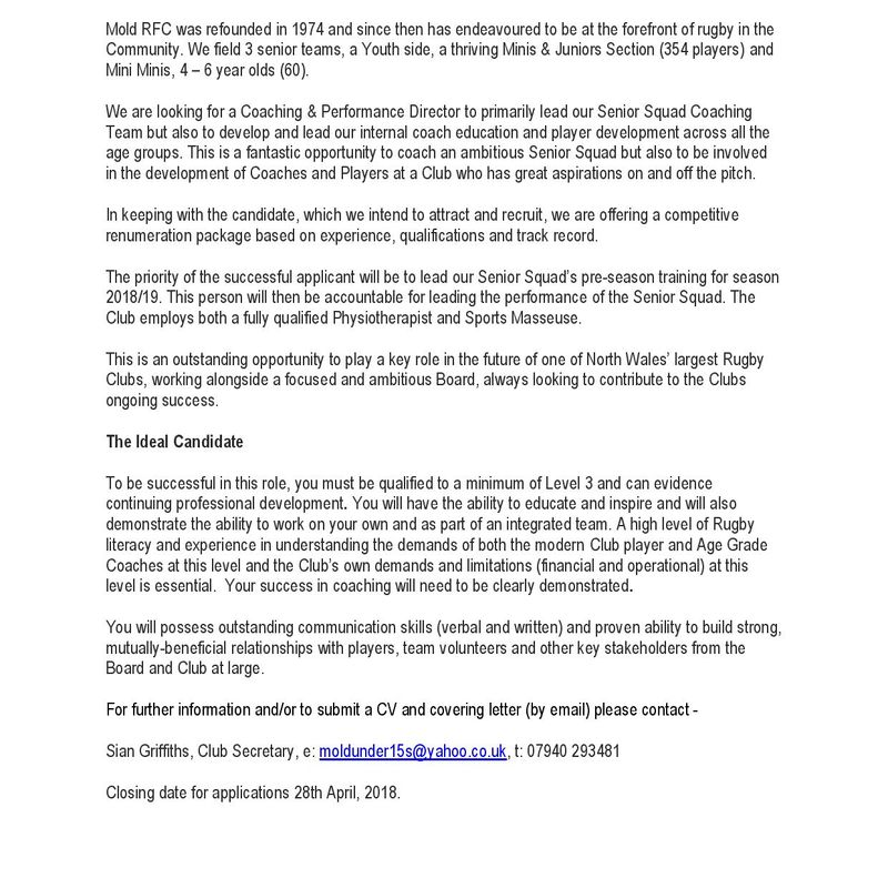 Mold RFC have a vacancy for a Coaching and Performance Director