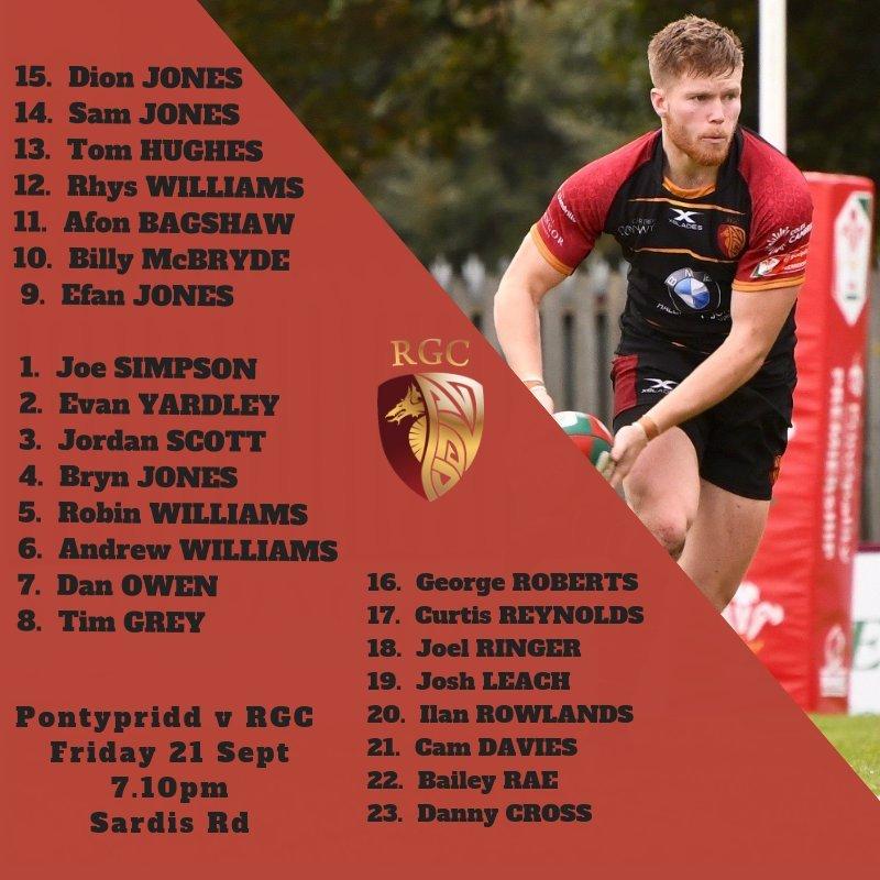 RGC announce team to play Pontypridd on Friday night