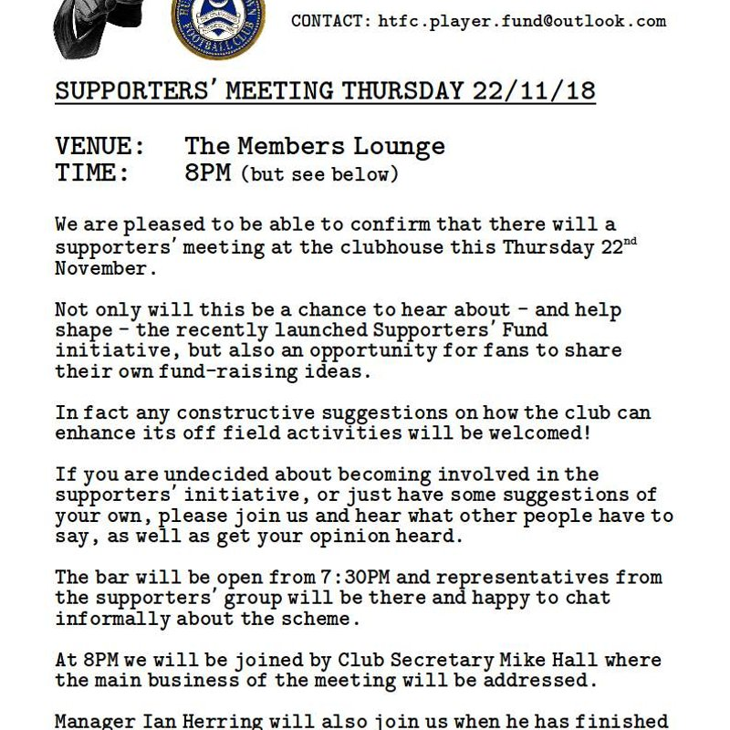 Meeting Information From The Supporters' Fund