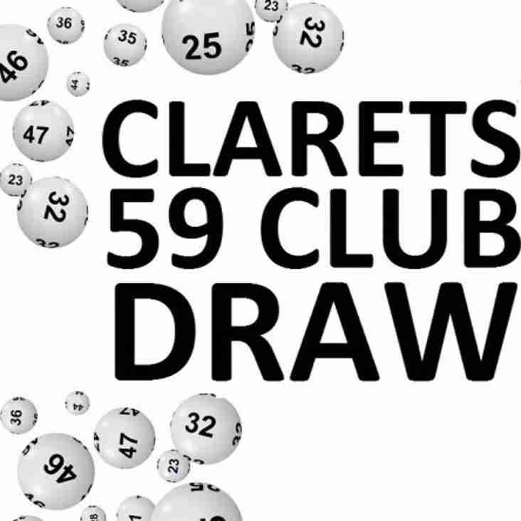 Clarets 59 Club Draw Winner - 18/05/2019