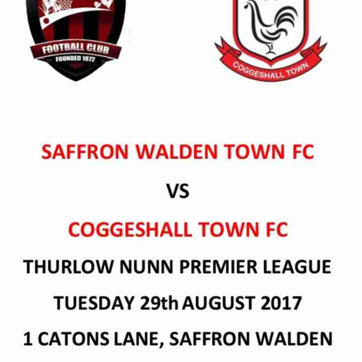 Saffron Walden Town FC VS Coggleshall FC - Tuesday 29th August