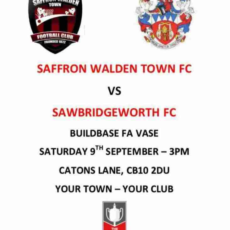 Saffron Walden Town FC Welcome Sawbridgeworth Town FC  in FA VASE match