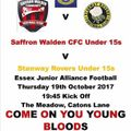 Bloods U15's in Action tonight at Catons Lane