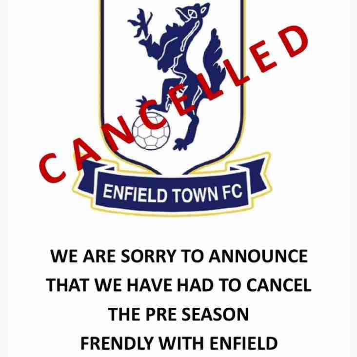 Enfield Town match cancelled