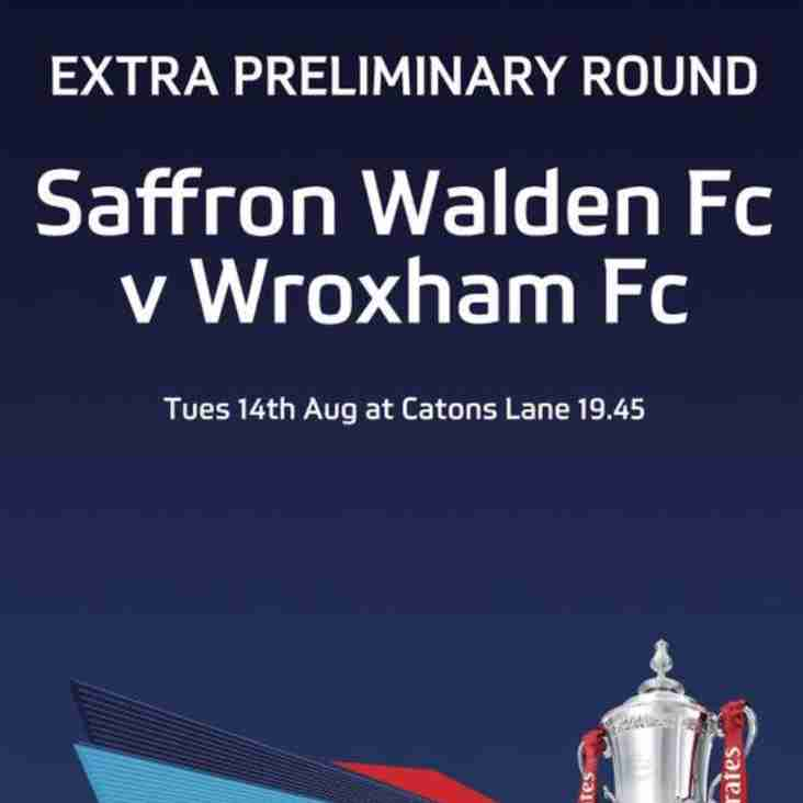 FA Cup Match - 14th Aug 7.45pm