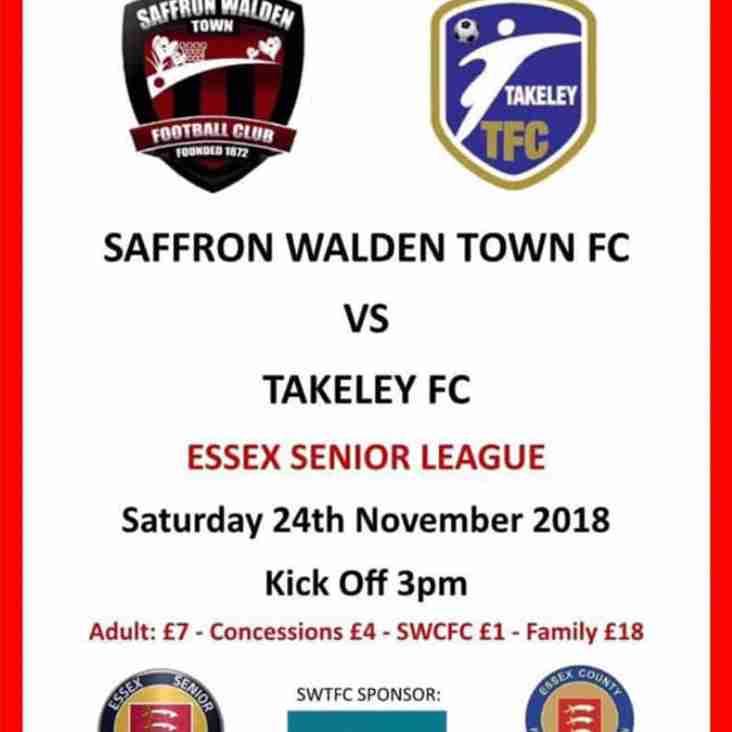 SWTFC vs Takeley Fc - Saturday 24th Nov