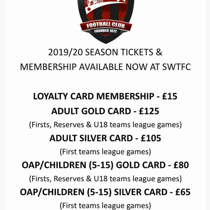 Season Tickets and Membership Available Now