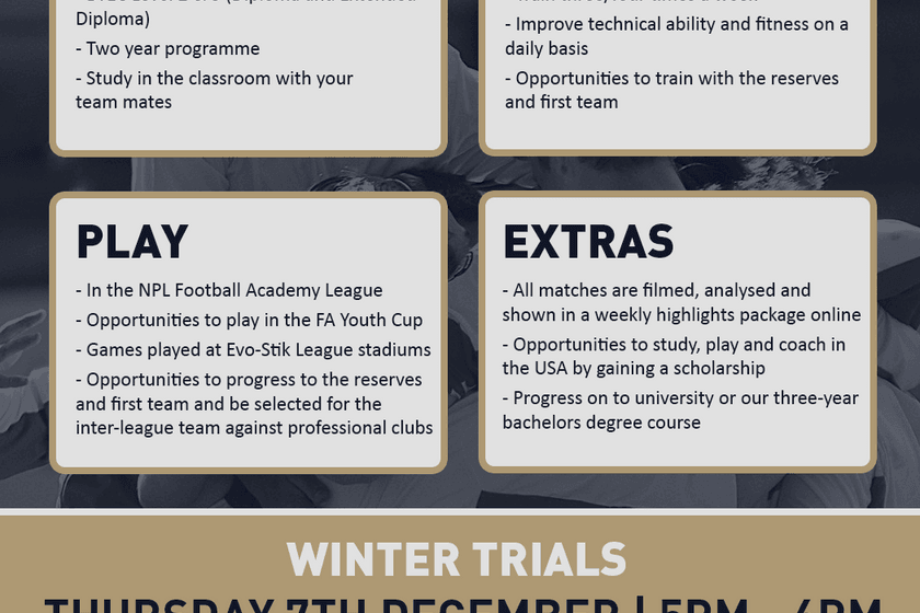 Upcoming trials for Belper Town Academy - 7th December 2017