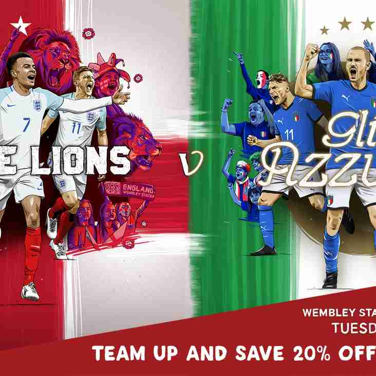 Team up and save 20% on England v Italy tickets when you book as a group