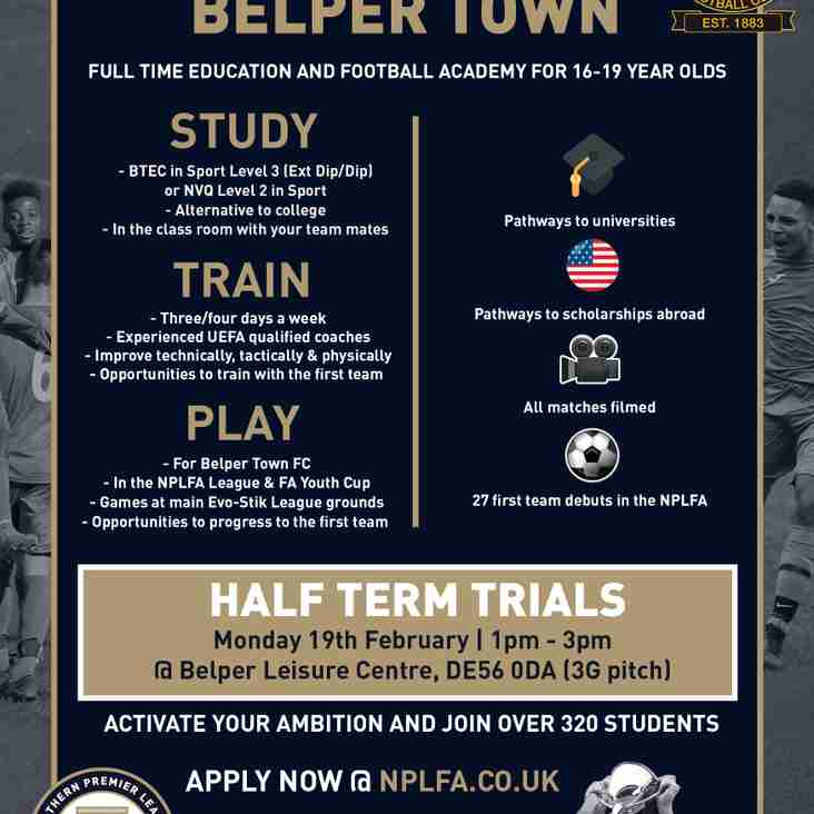 ACADEMY HALF TERM TRIALS